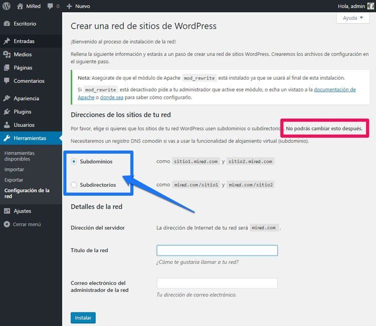 instalar wordpress como multisitio subdominios