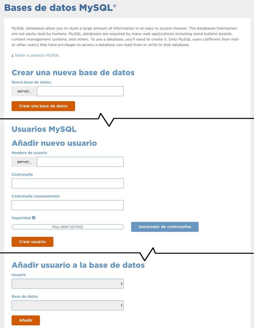 Crear base de datos, usuario y password - Subir WordPress de localhost a un servidor online
