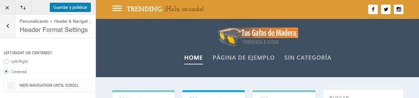 Personalizar el tema Extra, cabecera y background | INGRESOS VÍA WEB