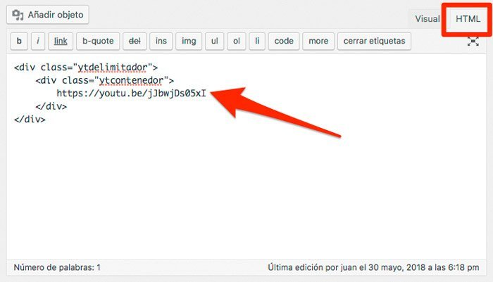 Nueva entrada o pagina para video de YouTube en WordPress