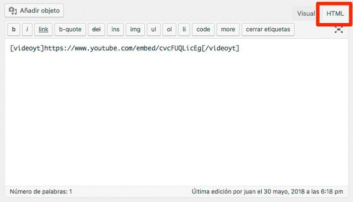 YouTube en WordPress. Shortcode