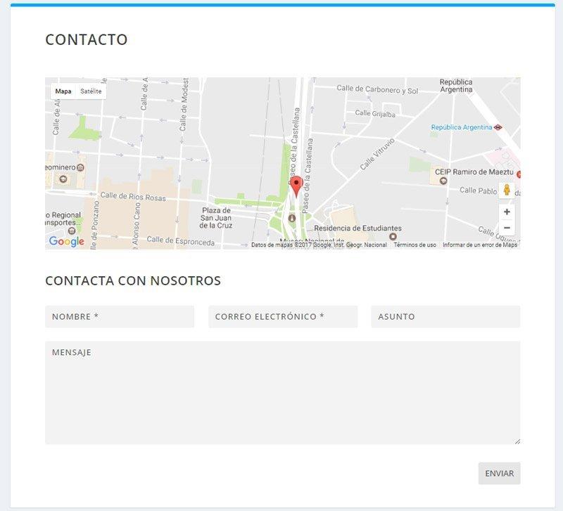 Formulario de contacto. Atributos de página 2
