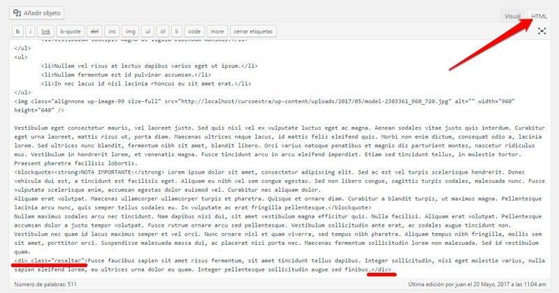Destacar un texto o párrafo en WordPress. Div