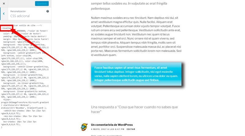 Destacar un texto o párrafo en WordPress. Div2