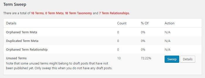 Limpiar la base de datos de WordPress. Limpiar taxonomias
