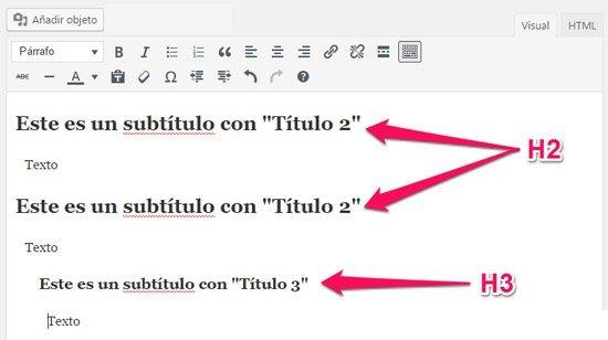 como crear una nueva entrada en WordPress. Subtítulos H2 y H3