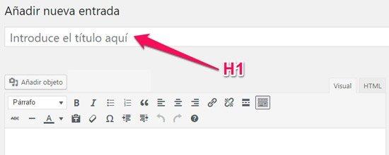 como crear una nueva entrada en WordPress. Titular 1 H1