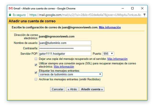 Conexión de dominio propio en Gmail