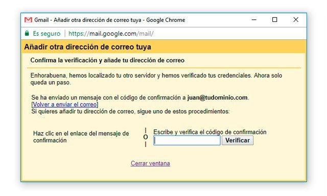 Confirmación de correo de dominio propio en Gmail