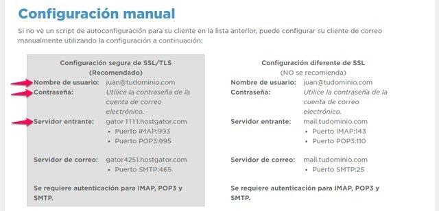 Datos del servidor de correos del dominio propio