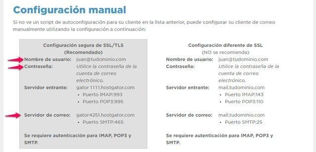 Datos del servidor de correos del dominio propio2