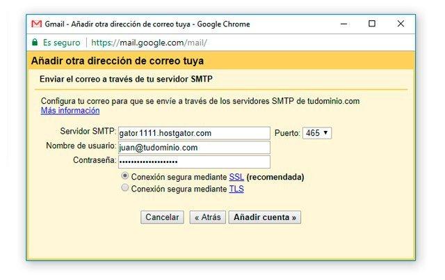 Datos para enviar correo de dominio propio en Gmail