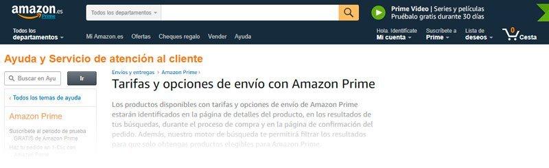Envíos de Amazon.com España si eres prime de amazon