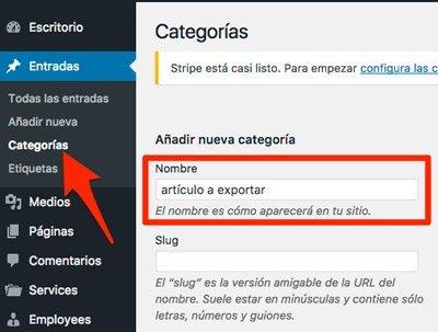 Exportar una entrada de wordPress. categoría