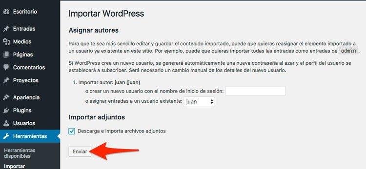Exportar una entrada de wordPress. elegir autor