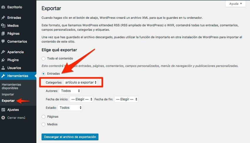 Exportar una entrada de wordPress. Herramientas exportar