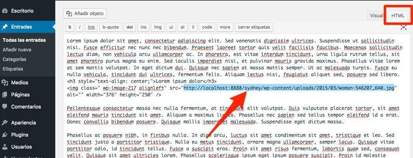 Exportar una entrada de wordPress. Imágenes