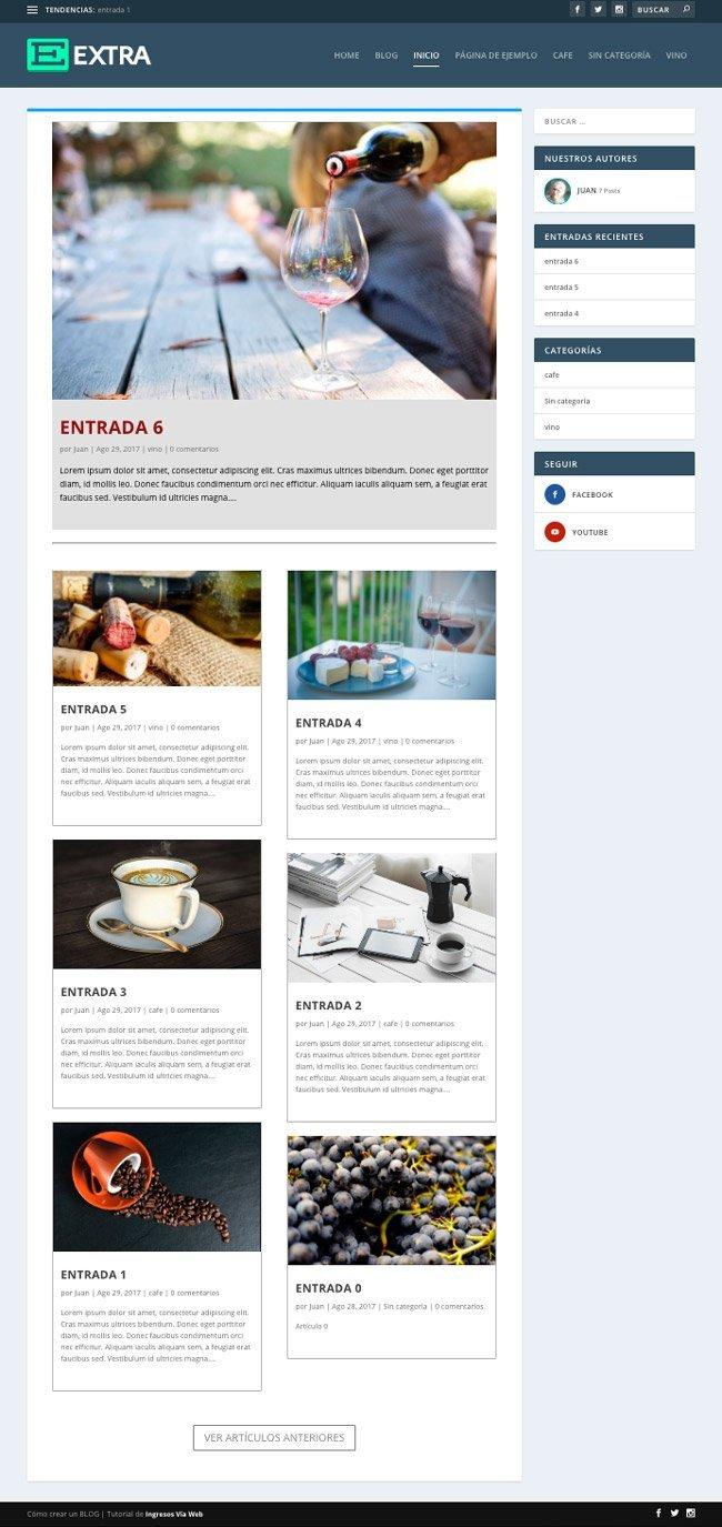 Blog con el tema EXTRA theme. Blog 2 columnas termnado