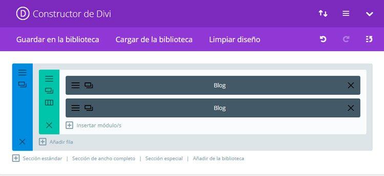 Blog con el tema EXTRA theme. Blog básico