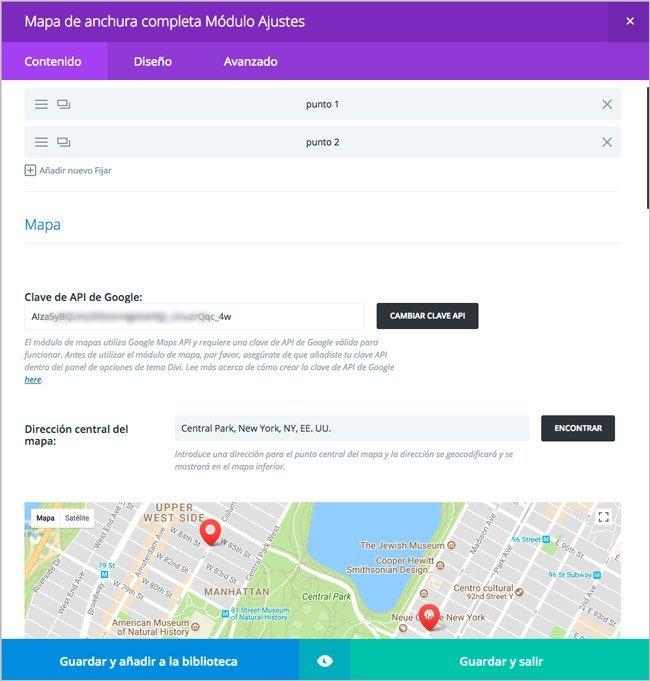 Módulo de mapas para formulario en DIVI