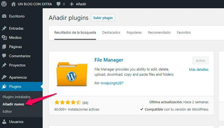 Blog con el tema EXTRA theme. File manager