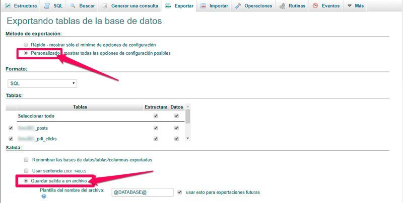 copia de seguridad descargar archivo de la base de datos