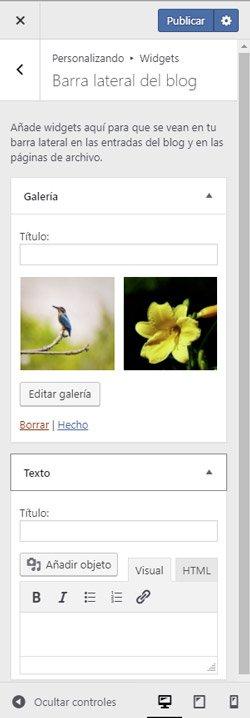Widgets. nueva versión de WordPress