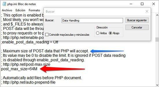 ampliar tiempo de ejecucion en Xampp Data Handling