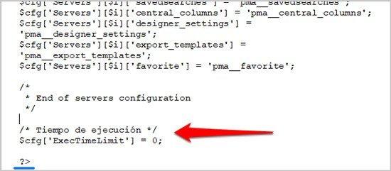 phpmyadmin ampliar tiempo de ejecución 2
