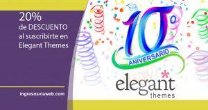 Décimo aniversario de Elegant Themes con descuento