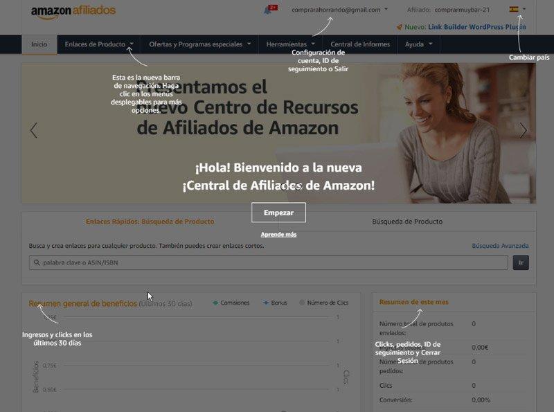 central del programa de afiliados de Amazon