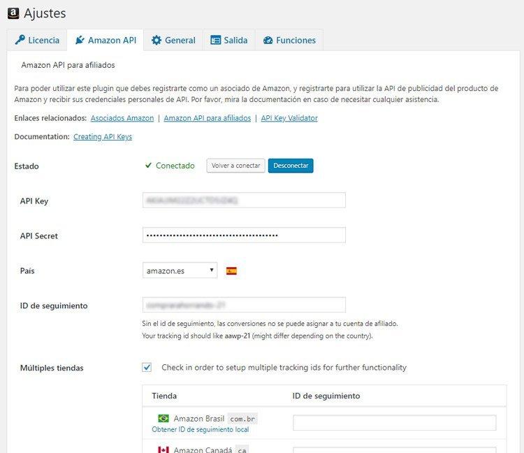 claves API de Amazon para AAWP