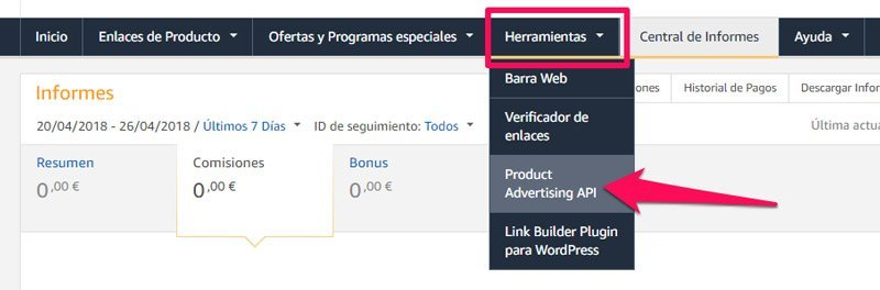 claves API del plugin de Amazon