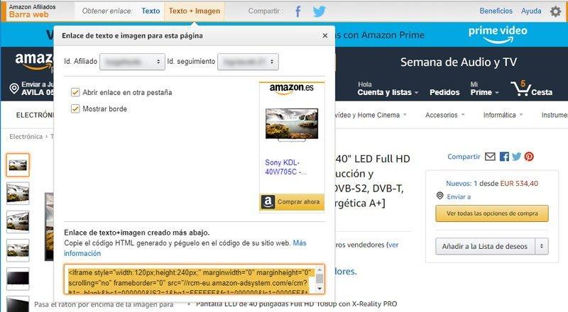 Enlace de imagen y texto de Amazon