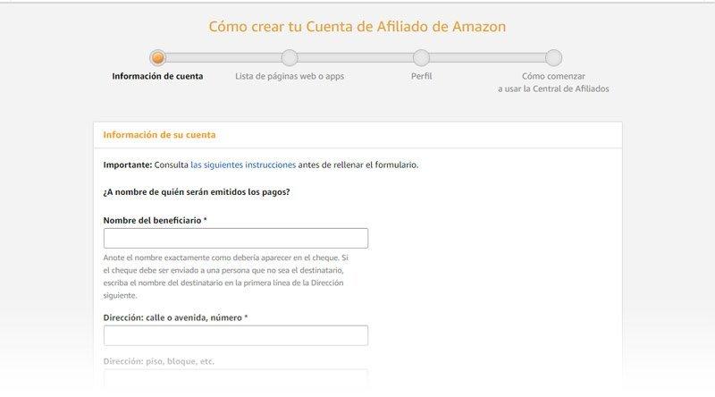 Informacion de la cuenta de Amazon
