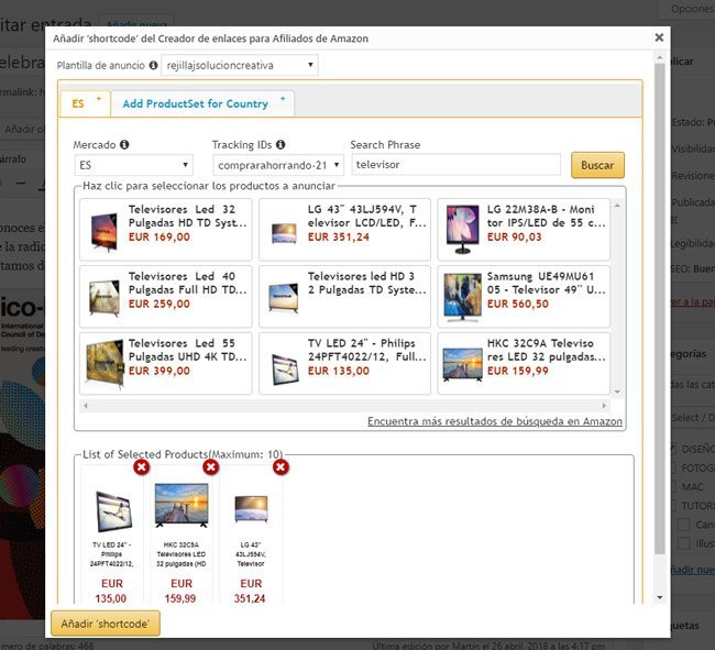 ventana de colocar productos de Amazon