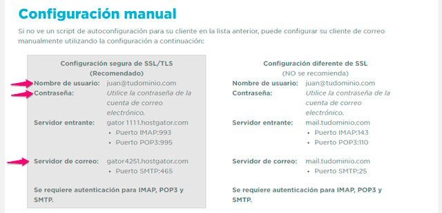 Datos de servidor SMTP de correo para formulario en divi