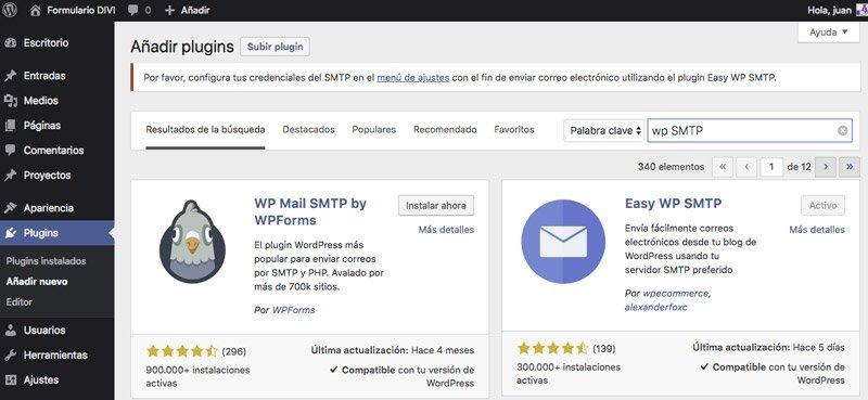 Plugins de envío por SMTP
