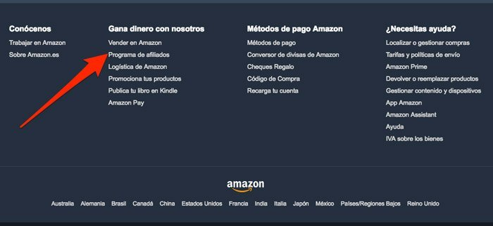 alta web de productos de afiliación de Amazon