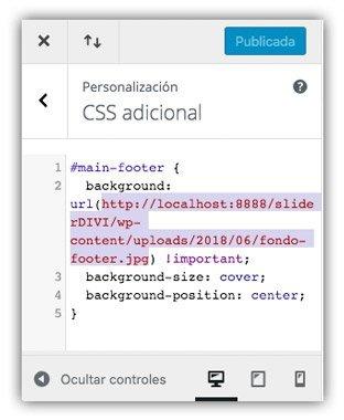 Código CSS para imagen en footer en divi