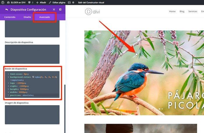 Código CSS para cada imagen del deslizador