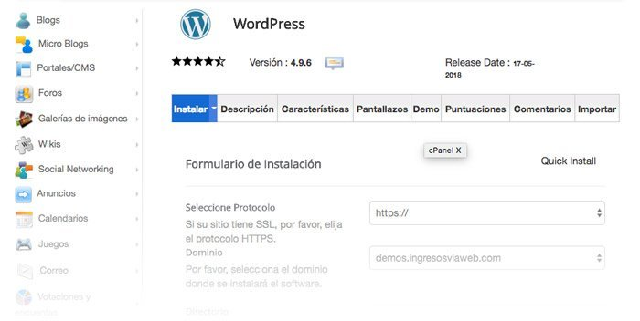 Datos de configuración de WordPress