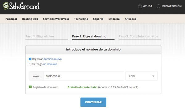 Dominio para web de productos de afiliación con SiteGround