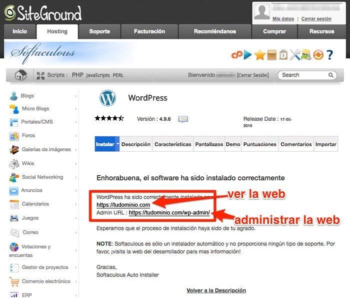 Finalizar instalación de WordPress