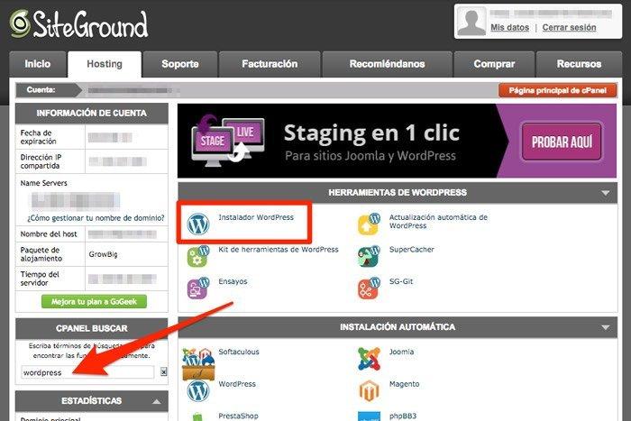 Instalador de WordPress en SiteGround