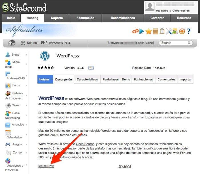 Web de productos de afiliación en SiteGround