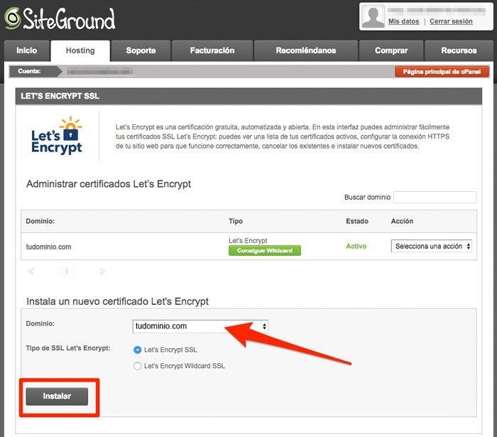 Instalar certificado gratuito Let's Encrypt en SiteGround