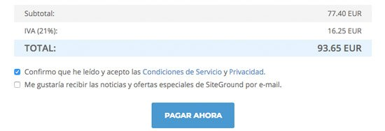 web de productos de afiliación con SiteGround. Pago final