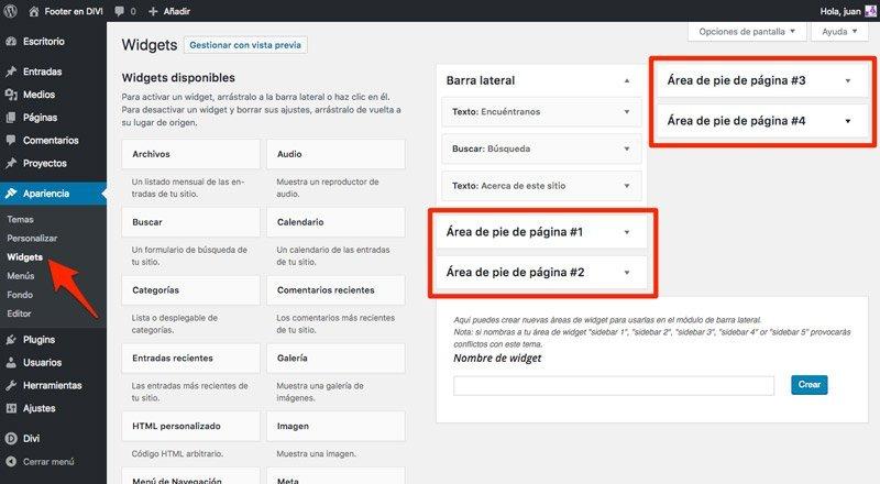 Widgets desde la administración de WordPress