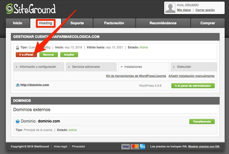 Acceso a cPanel desde cuenta Siteground